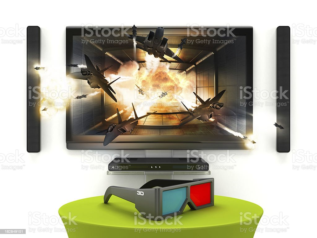 3D LCD TV royalty-free stock photo