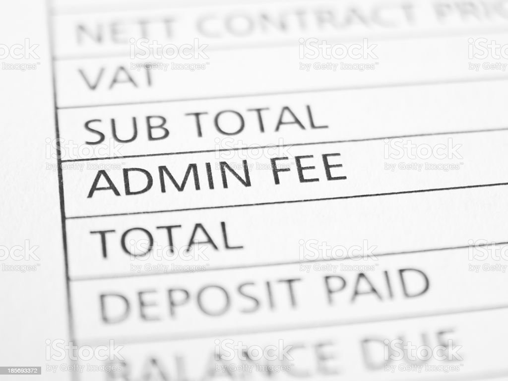 ADMIN FEE stock photo
