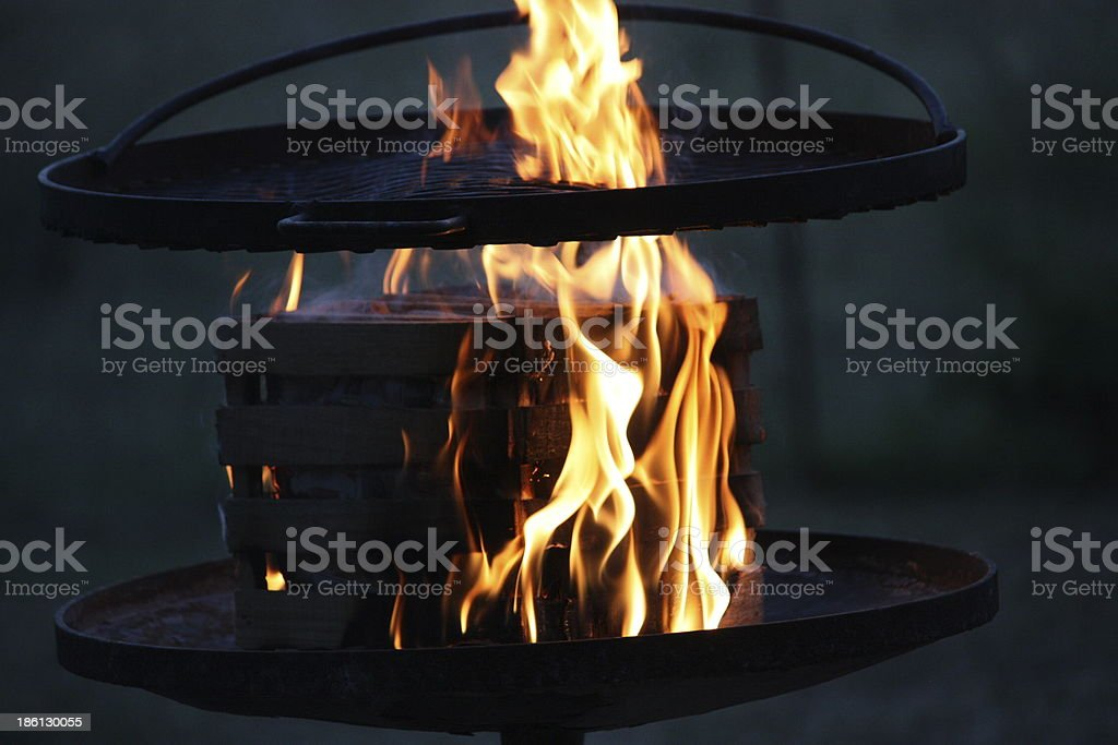 FLAMES OF THE BARBEQUE royalty-free stock photo