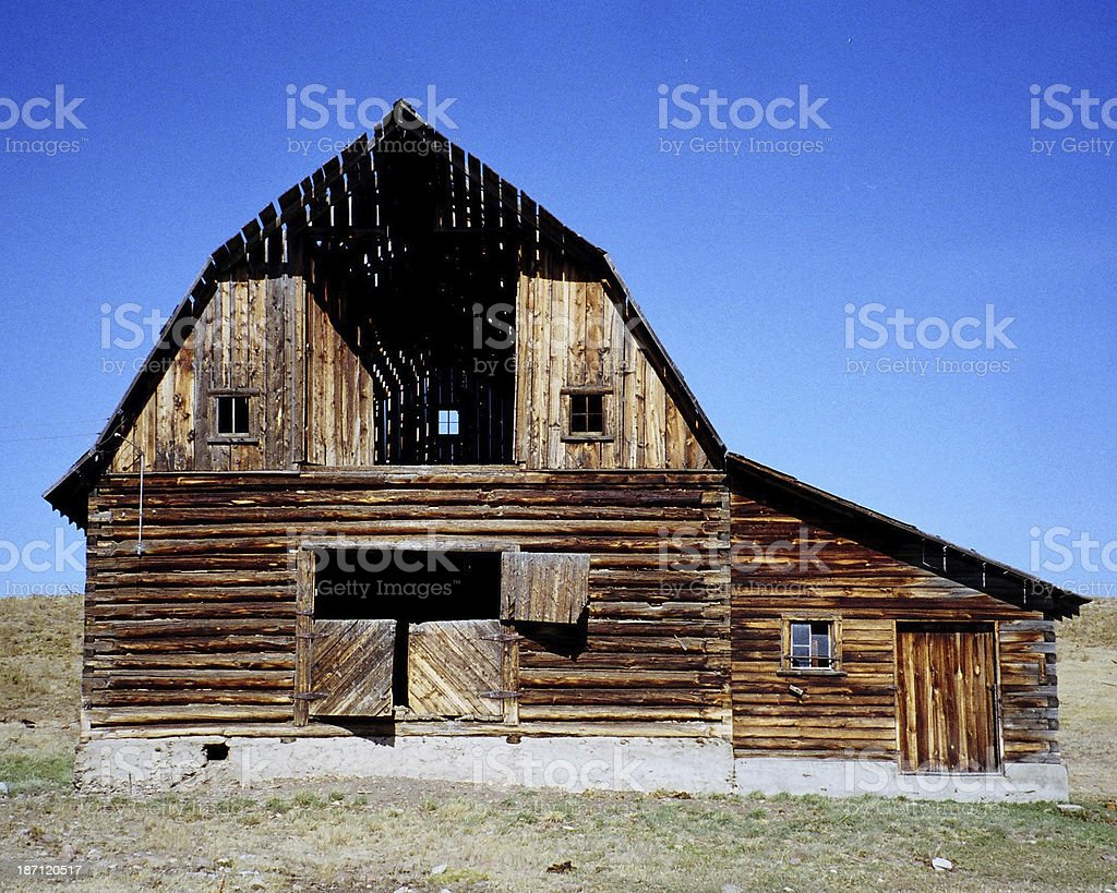 OLD HOMESTEAD BARN IN MONTANA. stock photo
