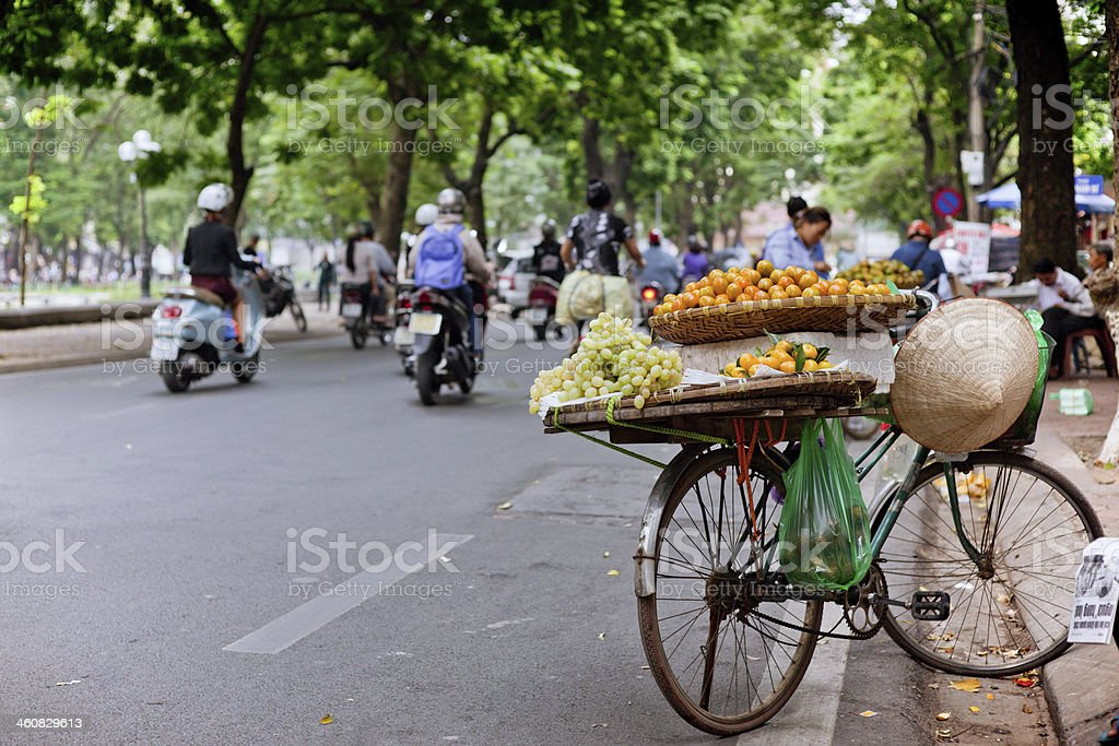 BIKE WITH FRUITS FOR SALE IN VIETNAM stock photo