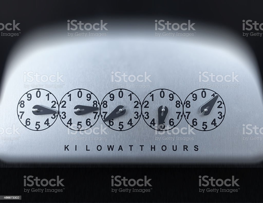 OLDER STYLE KILOWATT HOUR ELECTRIC METER REGISTER DIALS stock photo