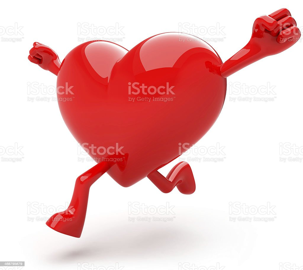 3D RED HEART MASCOT stock photo