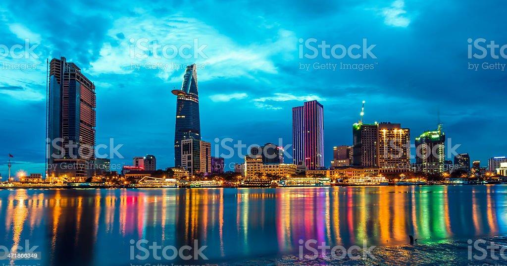 SAIGON NIGHT SKYLINE, VIETNAM royalty-free stock photo