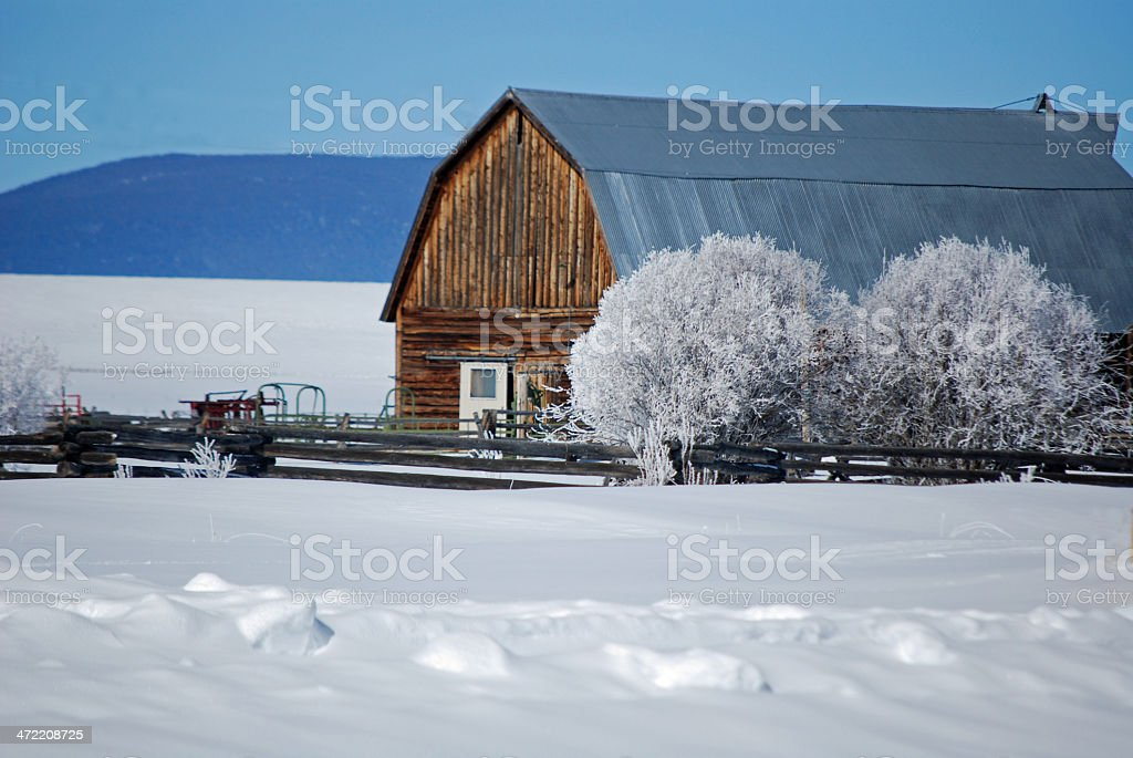 OLD BARN ON A MONTANA RANCH. stock photo