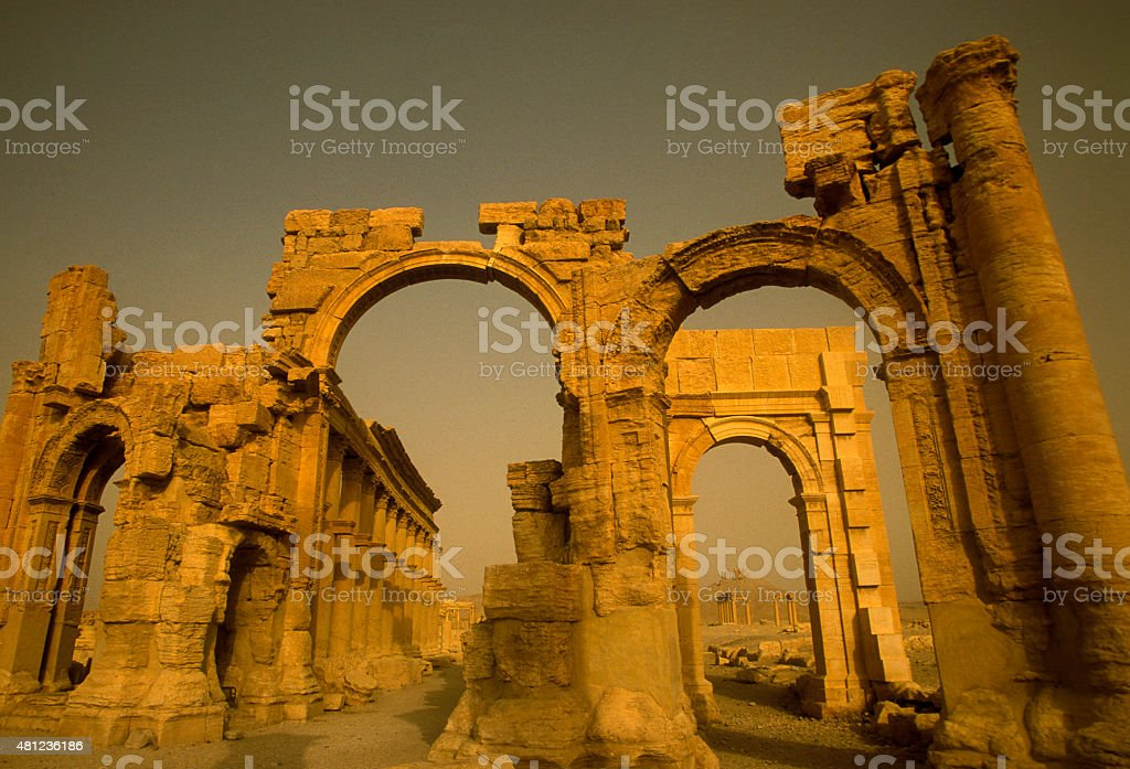 SYRIA PALMYRA ROMAN RUINS stock photo