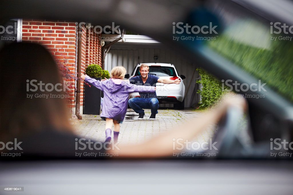 So excited to see daddy! stock photo