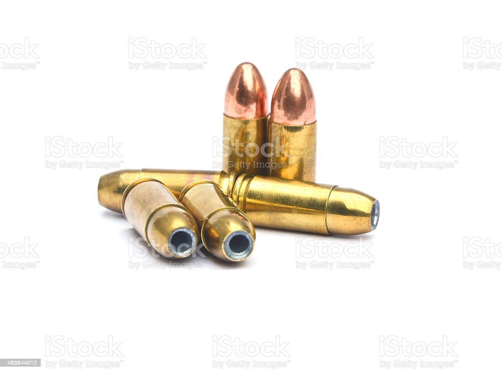 BULLETS 9 MM ISOLATED IN WHITE BACKGROUND stock photo