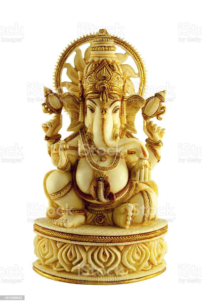 MARBLE STATUE ELEPHANTHEADED HINDU GOD GANAPATHI  SITTING stock photo
