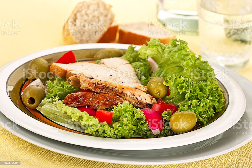 SALAD WITH CHICKEN BREAST stock photo