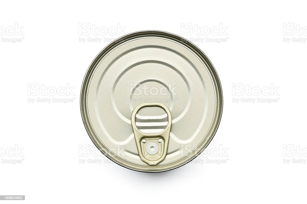 TIN CAN LID TOP ON WHITE stock photo