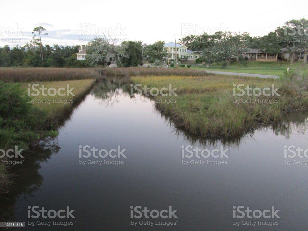 SMALL WATERWAY ON THE GULF COAST stock photo