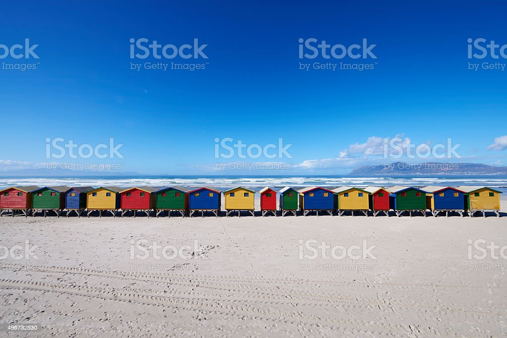 BEACH HUTS IN MUIZENBERG stock photo