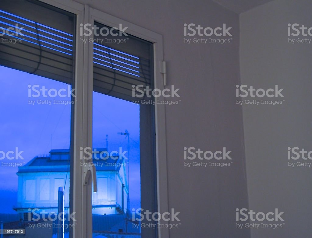 WINDOW WITH BLUE VIEW stock photo