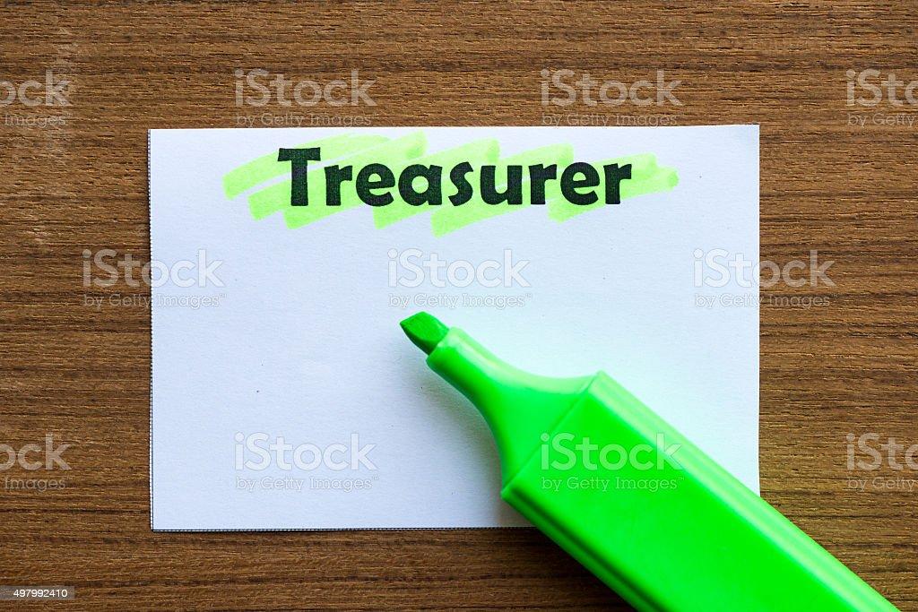 TREASURER stock photo