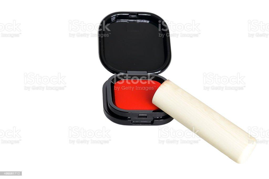朱肉と印鑑 stock photo