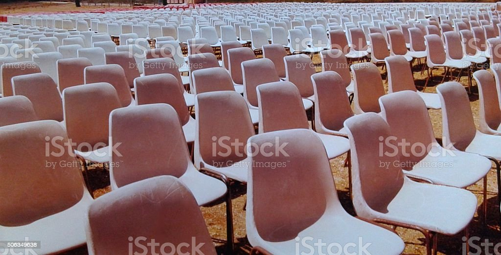 PINK AND WHITE CHAIRS stock photo