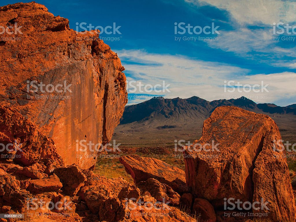 RED ROCKS UNDER A BLUE SKY stock photo