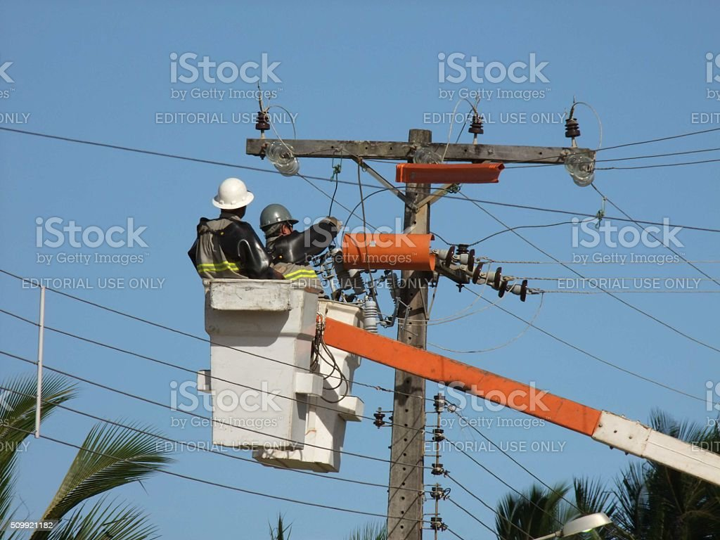 MAINTENANCE IN POWER SUPPLY stock photo