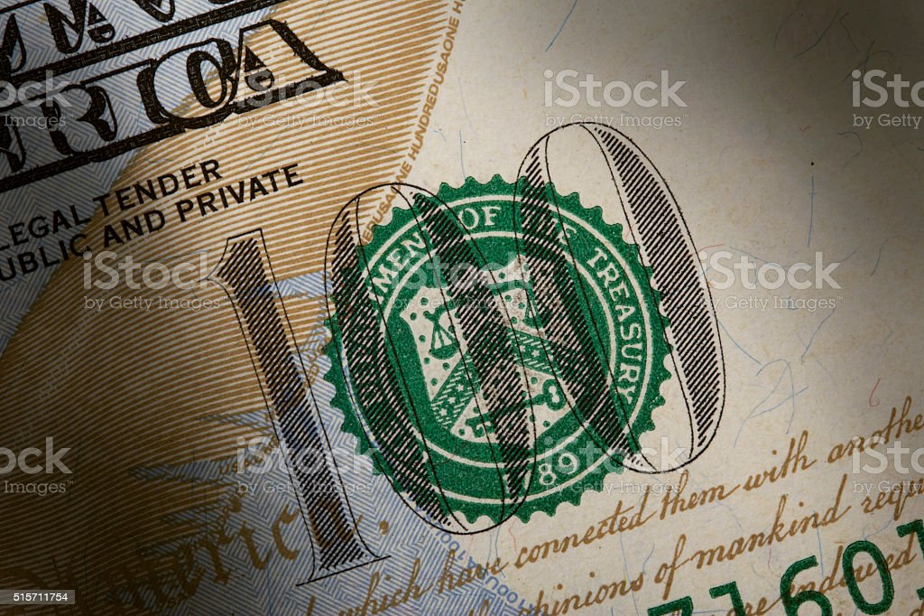 NEW US ONE HUNDRED DOLLAR BILL DETAIL stock photo