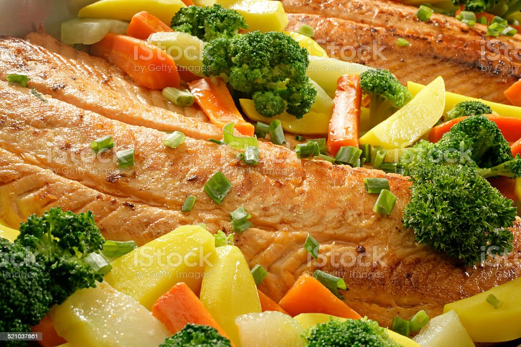 SALMON AND VEGETABLES stock photo