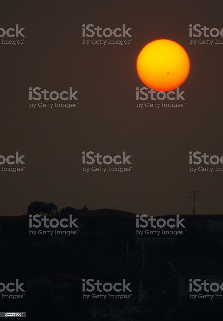SUNDOWN WITH SUN SPOT stock photo