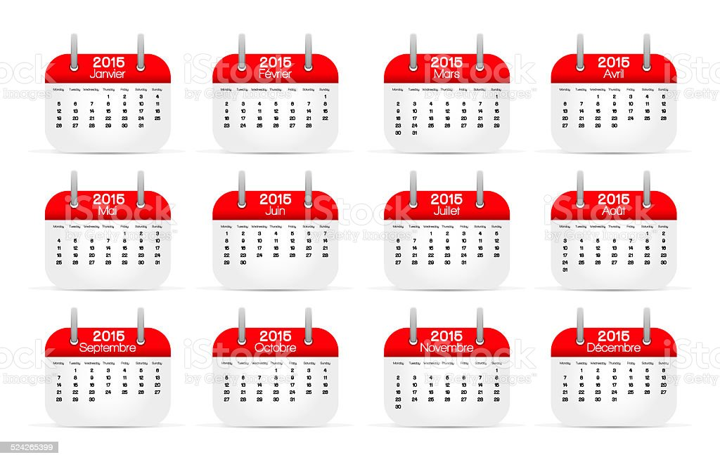 CALENDRIER-FR-2015 stock photo