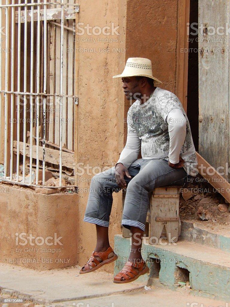 MAN WITH A HAT, TRINIDAD, CUBA stock photo