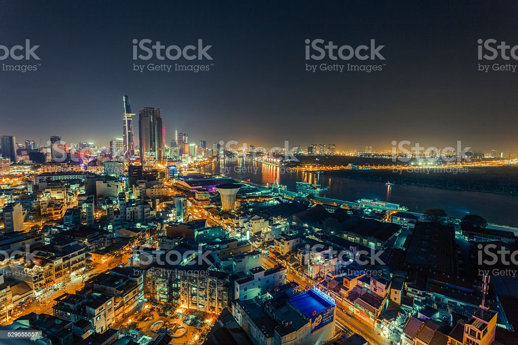 AERIAL VIEW OF HO CHI MINH CITY stock photo