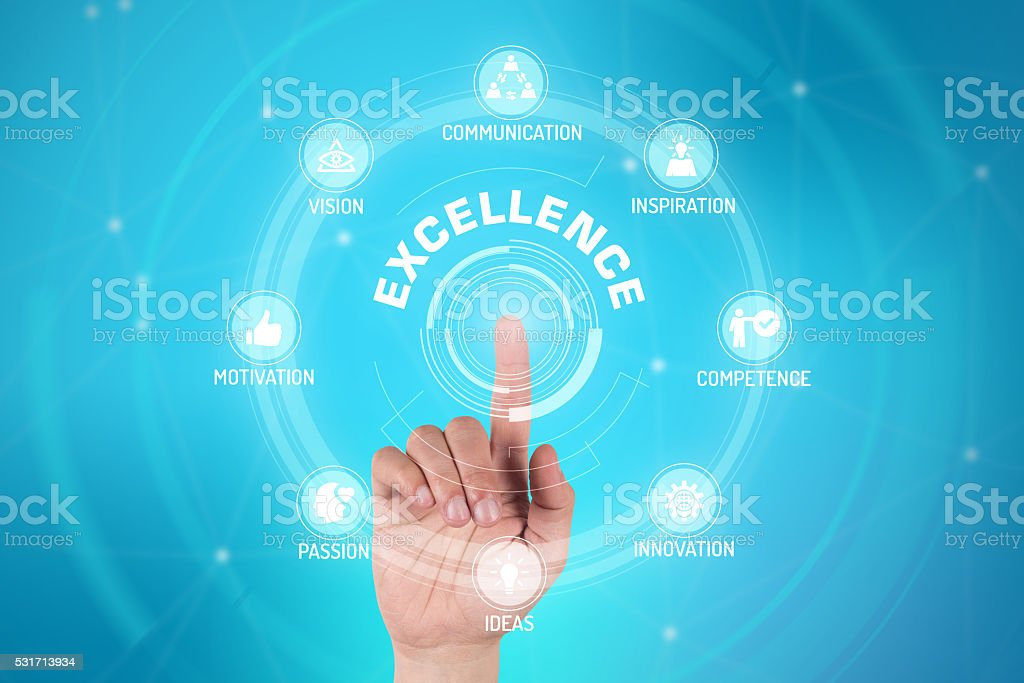 EXCELLENCE TECHNOLOGY COMMUNICATION TOUCHSCREEN FUTURISTIC CONCE stock photo