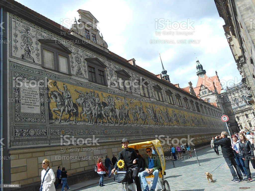 MURAL OF THE RULERS OF SAXONY, DRESDEN, GERMANY stock photo