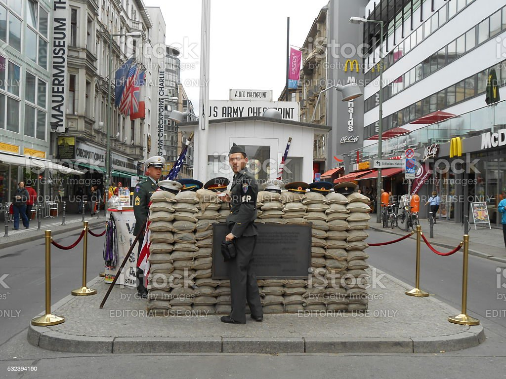 CHECKPOINT CHARLIE, BERLIN, GERMANY stock photo