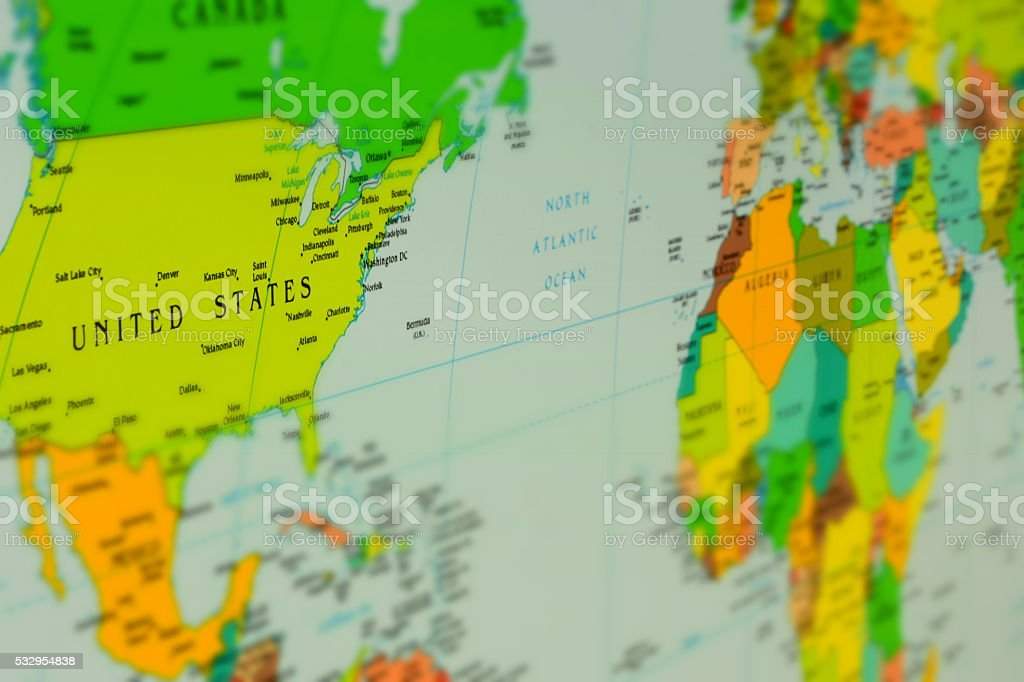 THE POLITICAL MAP OF THE WORLD stock photo