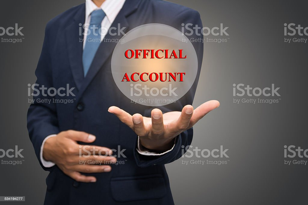 OFFICIAL ACCOUNT stock photo