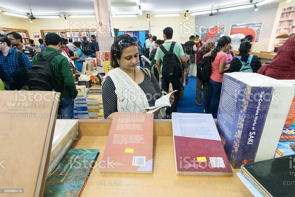 Books being sold at Kolkata International book fair - 2015. stock photo