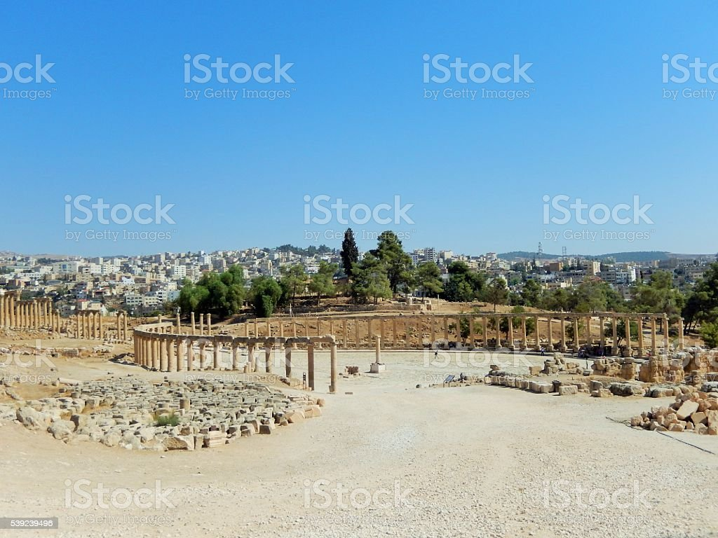 OVAL FORUM AND CARDO MAXIMUS, JERASH, JORDAN stock photo