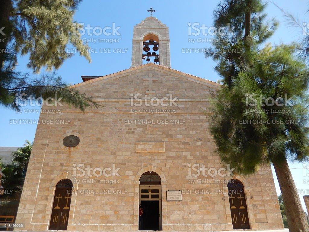 SAINT GEORGE CHURCH, MADABA, JORDAN stock photo