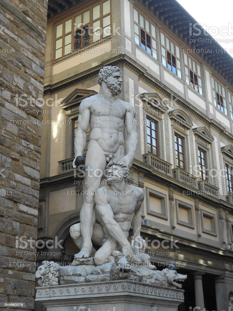 STATUE OF HERCULES AND CACUS, PIAZZA DELLA SIGNORIA, FLORENCE, ITALY stock photo