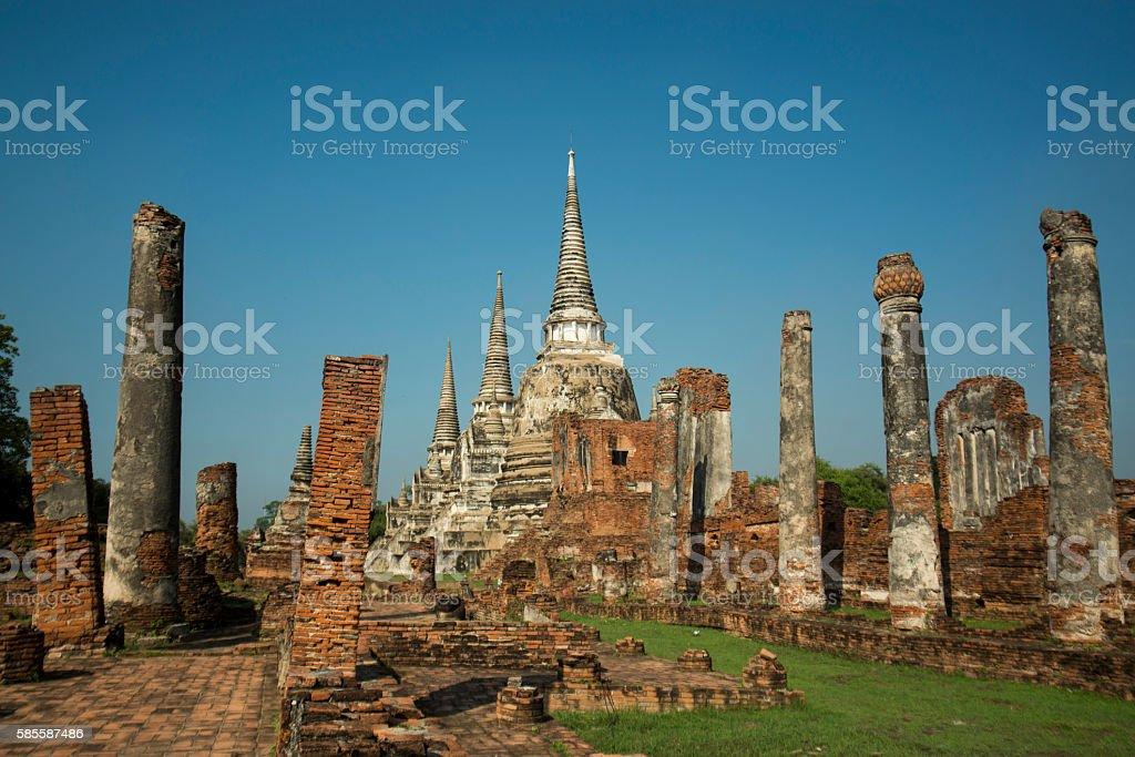 ASIA THAILAND AYUTHAYA WAT PHRA MAHATHAT stock photo