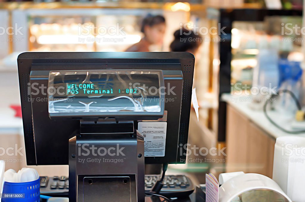 POS COMPUTER TERMINAL IN SHOP stock photo
