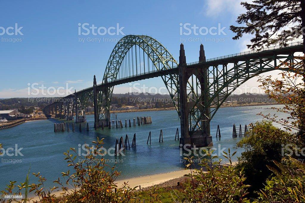 YAQUINA BAY BRIDGE stock photo