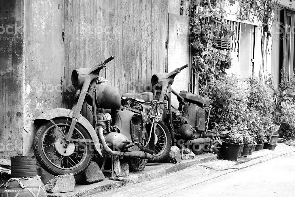 TWO CLASSIC MOTORCYCLE stock photo