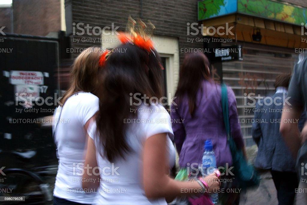 DUTCH WOMEN CELEBRATING stock photo