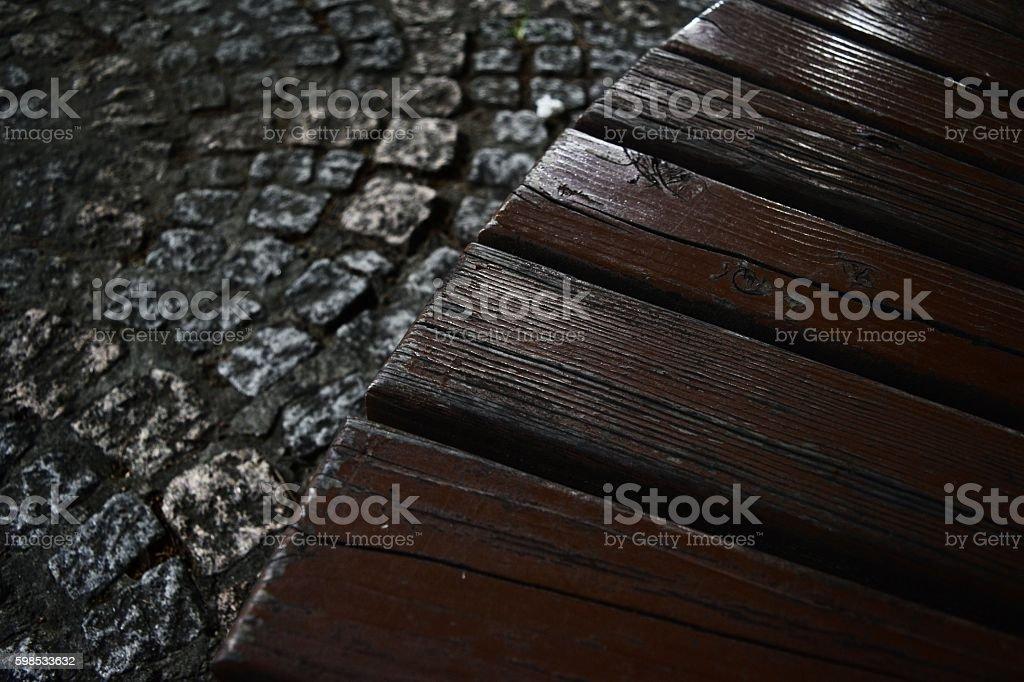 야경,나무의자,바닥,돌 stock photo
