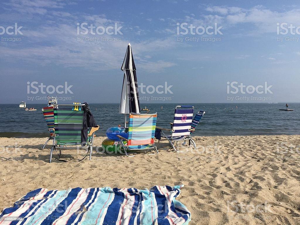 BEACH DAY AT HAWK'S NEST stock photo