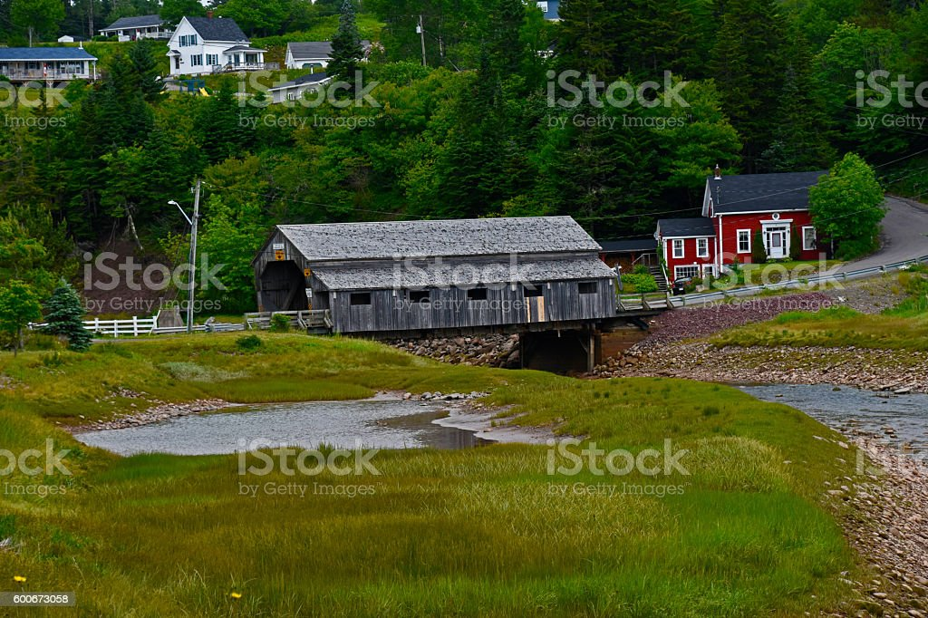 COVERED WOODEN BRIDGE stock photo