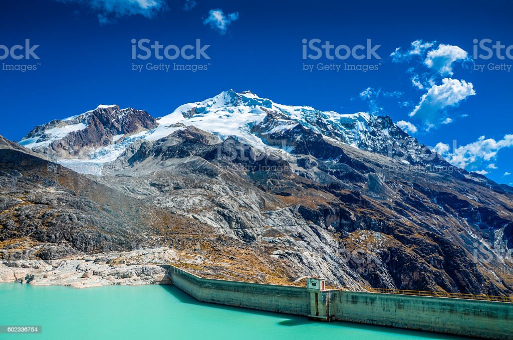 THE ZONGO PASS WITH HUAYNA POTOSI PEAK IN THE BACKGROUND stock photo