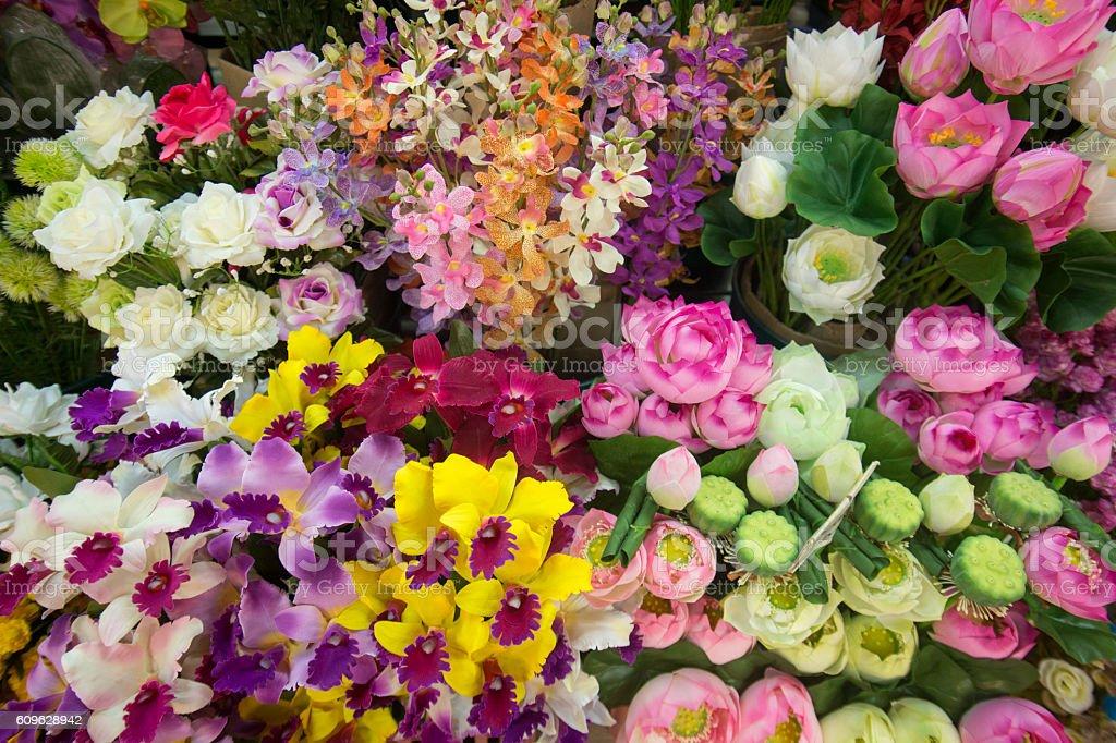 ASIA THAILAND CHIANG MAI TALAT WAROROT FLOWERS stock photo