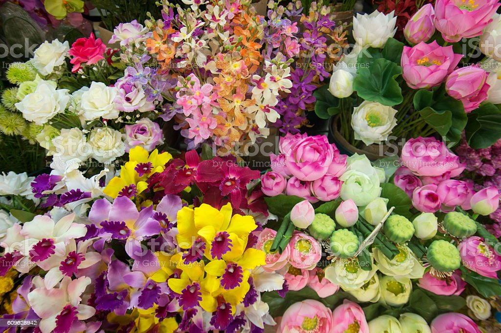 ASIA THAILAND CHIANG MAI TALAT WAROROT FLOWERS stock photo