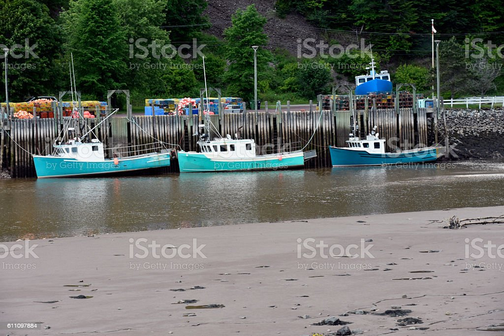 THREE LOBSTER BOATS IN ST. MARTINS stock photo
